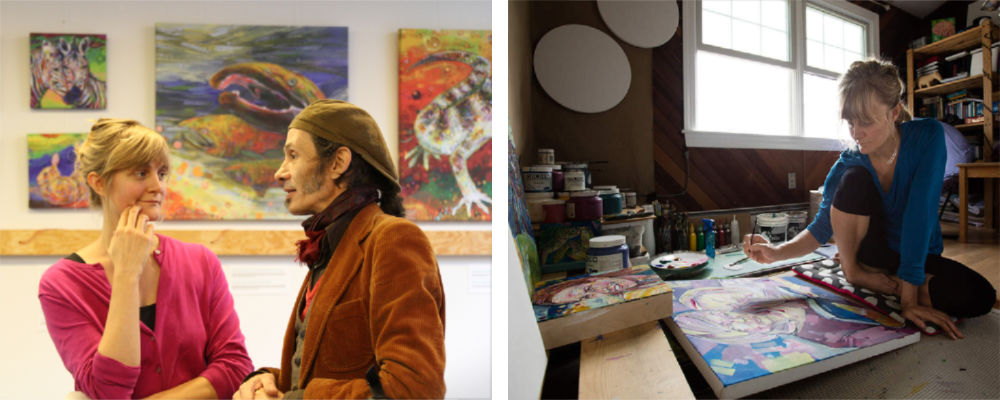 art by Gwenn Seemel in Belgium and the French-American painter in her studio in Surf City, New Jersey in 2016