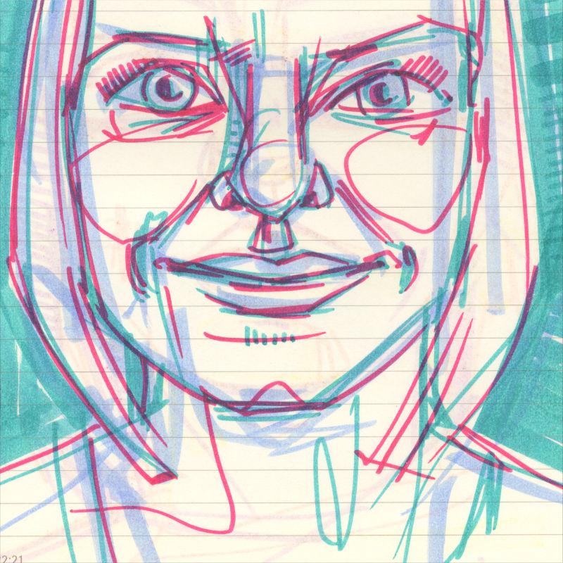 sketchbook portrait in marker on paper